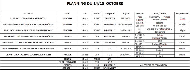 Planning 14-15 octobre