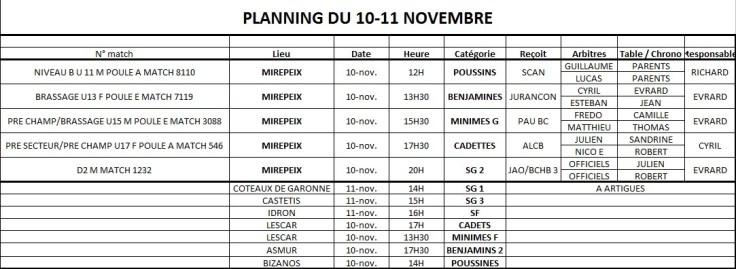 Planning 10-11 novembre